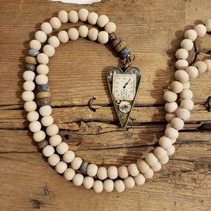 Clockwork Art & Bead Necklace Boho Festival